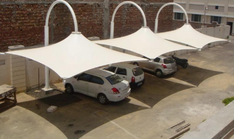 Tensile Car Parking Shed With Fabrication, Car Paking System Fabrication, Delhi