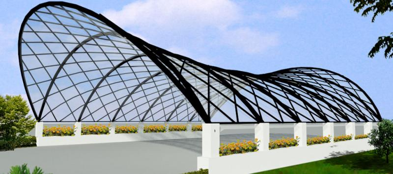 Mp manufacturers awning canopy tensile structure for Steel shade structure design